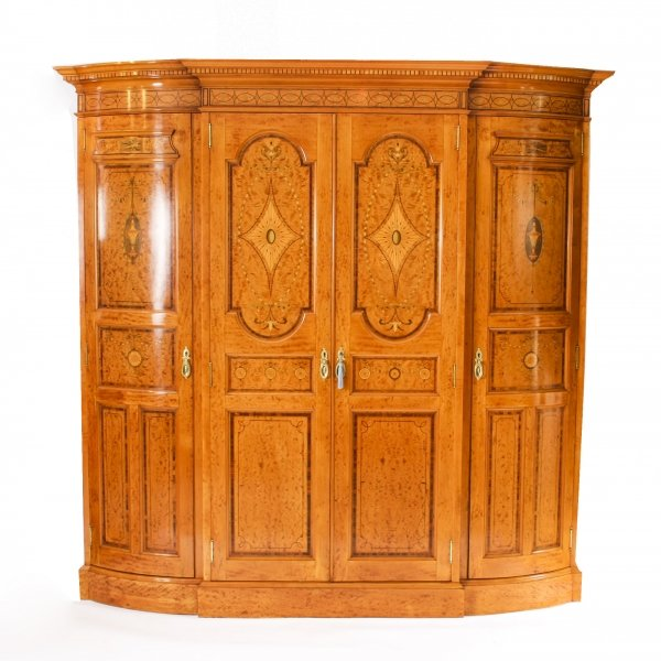 Antique Victorian English Satinwood & Tulipwood Wardrobe c.1880 19th C | Ref. no. 09782a | Regent Antiques