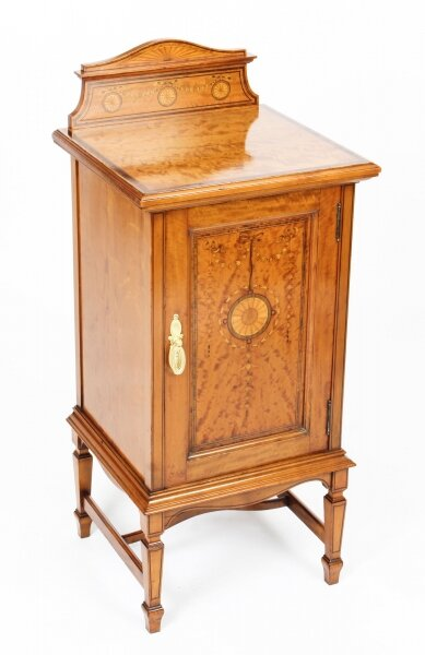 Antique Victorian Satinwood & Inlaid Bedside Cabinet c.1880 19th Century | Ref. no. 09782c | Regent Antiques