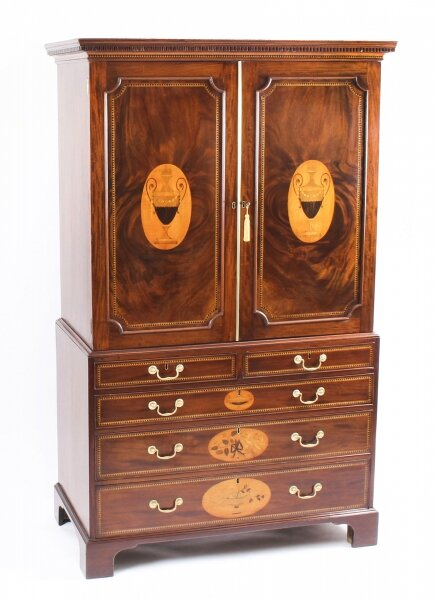Antique George III Flame Mahogany Satinwood & Marquetry Linen Press 18th C | Ref. no. 09787 | Regent Antiques