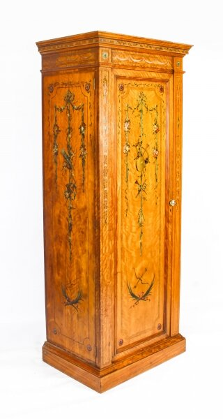 Antique English Victorian Satinwood Hand Painted Wardrobe C1880 19th Century | Ref. no. 09789 | Regent Antiques