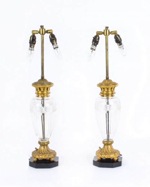 Antique Pair of French Ormolu & Glass Table Lamps with Marble Bases Circa 1900 | Ref. no. 09802 | Regent Antiques
