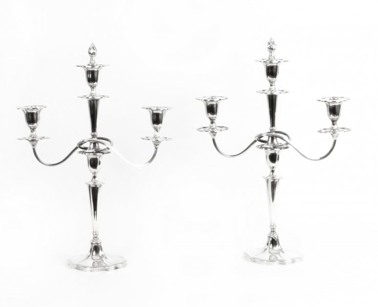Antique Pair of Sterling Silver 3 Branch Candelabra Walker & Hall 1921 20th C | Ref. no. 09809 | Regent Antiques