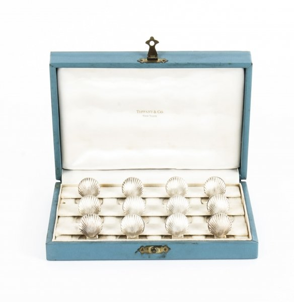 Antique Sterling Silver Set 12 Place Card Holders Boxed Tiffany Mid 20th Century | Ref. no. 09819 | Regent Antiques