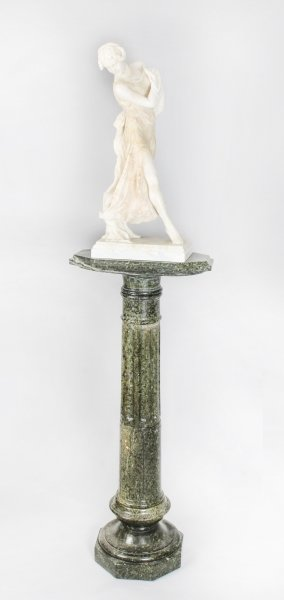 Antique French Art Nouveau Alabaster Sculpture Dancing Lady on Pedestal 19th C | Ref. no. 09837a | Regent Antiques