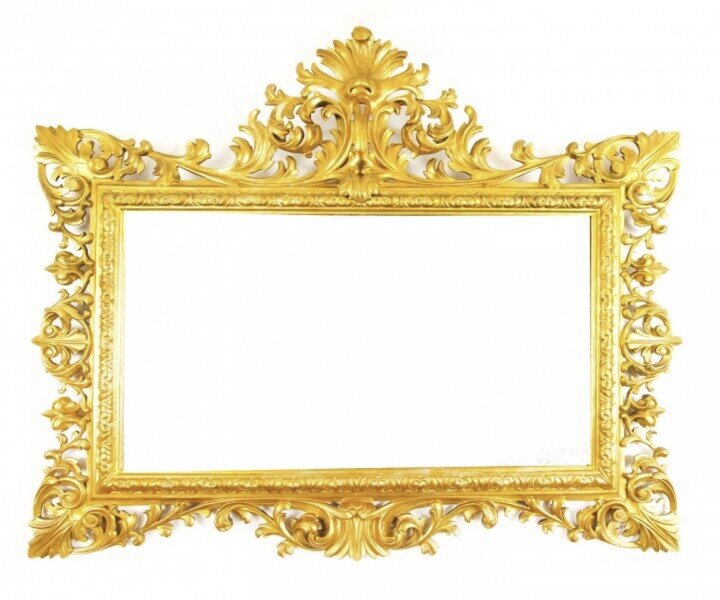 Antique Large English  Carved Giltwood Overmantel Mirror c.1860 120x143cm | Ref. no. 09840 | Regent Antiques