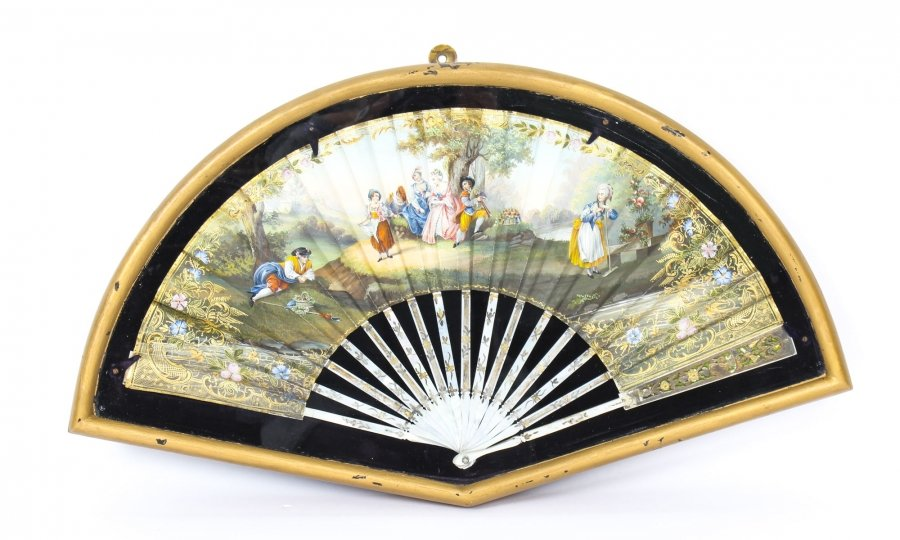 Antique French Framed Mother Pearl Hand-Painted Fan Late 18th Century | Ref. no. 09850 | Regent Antiques