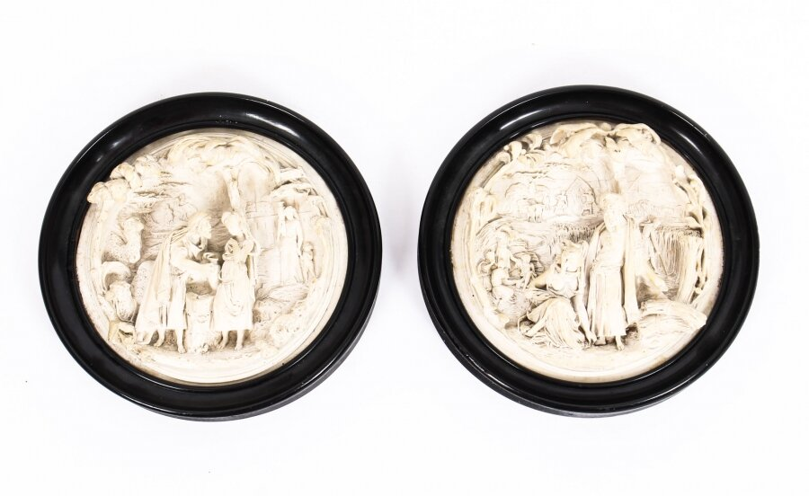 Antique Pair Ivorine Wall Plaques Old Testament Scenes Ebonised Frames  19th C | Ref. no. 09854 | Regent Antiques