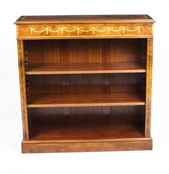 Bespoke Sheraton Revival Low Burr Walnut Open Bookcase | Ref. no. 09862a | Regent Antiques