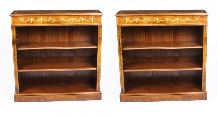 Bespoke Pair Sheraton Style Burr Walnut Low Open Bookcases | Ref. no. 09862b | Regent Antiques
