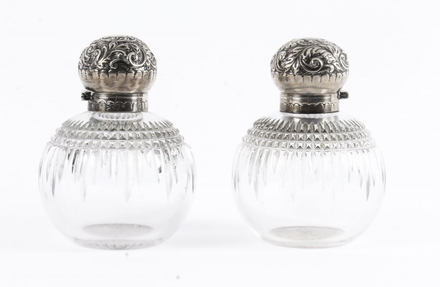Antique Pair of Sterling Silver Top Cut Glass Perfume Bottles 1894 19th C | Ref. no. 09906 | Regent Antiques