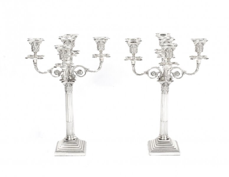 Antique Pair Sterling Silver Five Light Candelabra by Charles Boyton 1890 19th C | Ref. no. 09935 | Regent Antiques