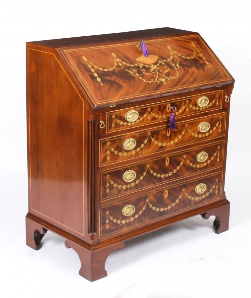 Antique English George III Mahogany & Marquetry Inlaid  Bureau  18thCentury | Ref. no. 09950 | Regent Antiques