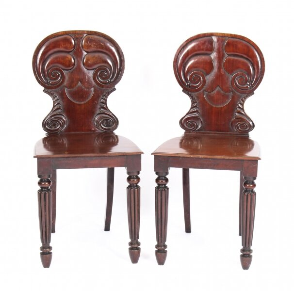 Antique Pair Regency Mahogany Hall Chairs by Gilllows  C1820 19th Century | Ref. no. 09957 | Regent Antiques