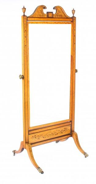 Antique Edwardian Satinwood Marquetry Inlaid Cheval Mirror c.1900 | Ref. no. 09968a | Regent Antiques