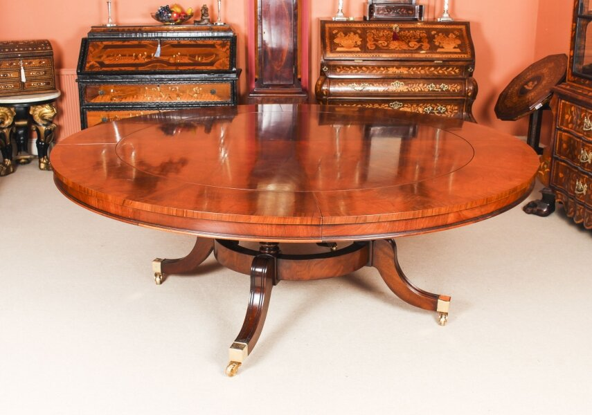 Bespoke 7ft Diameter Flame Mahogany Jupe Dining Table  21st C | Ref. no. 09979a | Regent Antiques