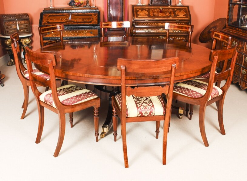 Bespoke 7ft Regency Flame Mahogany Jupe Dining Table & 8 chairs 21st C | Ref. no. 09979b | Regent Antiques