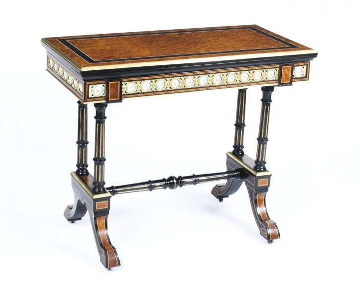 Antique Amboyna Card Table With Porcelain Plaques C1860 19th Century | Ref. no. 09985 | Regent Antiques