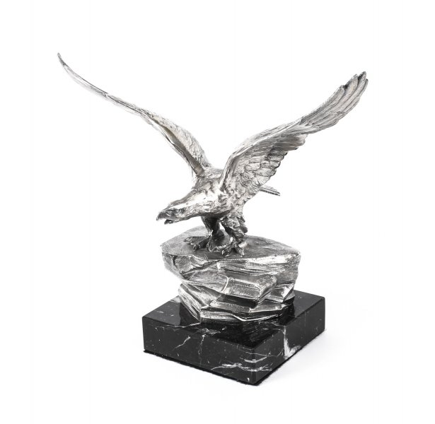 Antique Victorian Silver Plated Sculpture Bald Eagle Marble Base c1880 19th C | Ref. no. A1001 | Regent Antiques