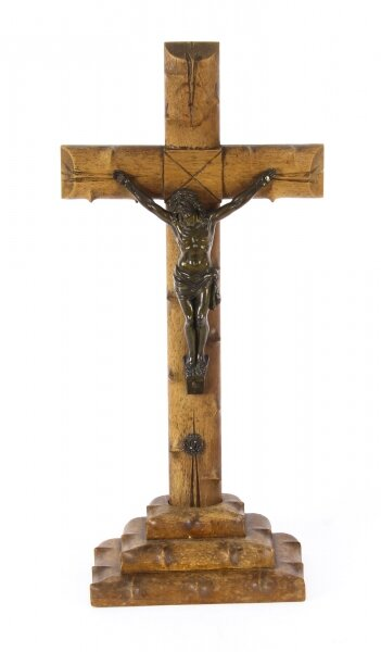 Antique French Dark Patinated Altar Corpus Christi Hardwood Cross & Base  C1900 | Ref. no. A1028 | Regent Antiques