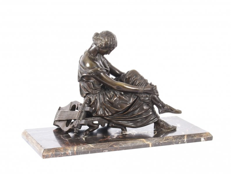 Antique French Bronze Sculpture of Seated Poet Sappho after J. Pradier  19th C | Ref. no. A1039 | Regent Antiques