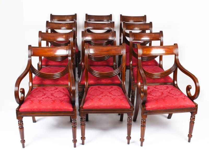 Vintage Set 12 Regency Revival Swag back Dining Chairs 20th Century | Ref. no. A1042 | Regent Antiques