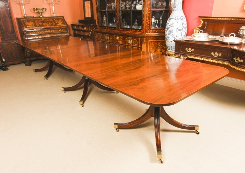 Vintage 13ft Regency Mahogany Triple Pillar Dining Table William Tillman 20th C | Ref. no. A1060 | Regent Antiques