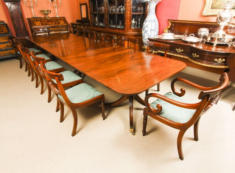 Vintage 3 Pillar Dining Table by William Tillman & 12 dining chairs  20th C | Ref. no. A1060b | Regent Antiques
