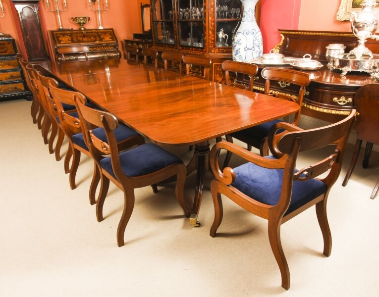 Vintage 3 Pillar Dining Table by William Tillman 20thC & 14 antique chairs C1820 | Ref. no. A1060c | Regent Antiques