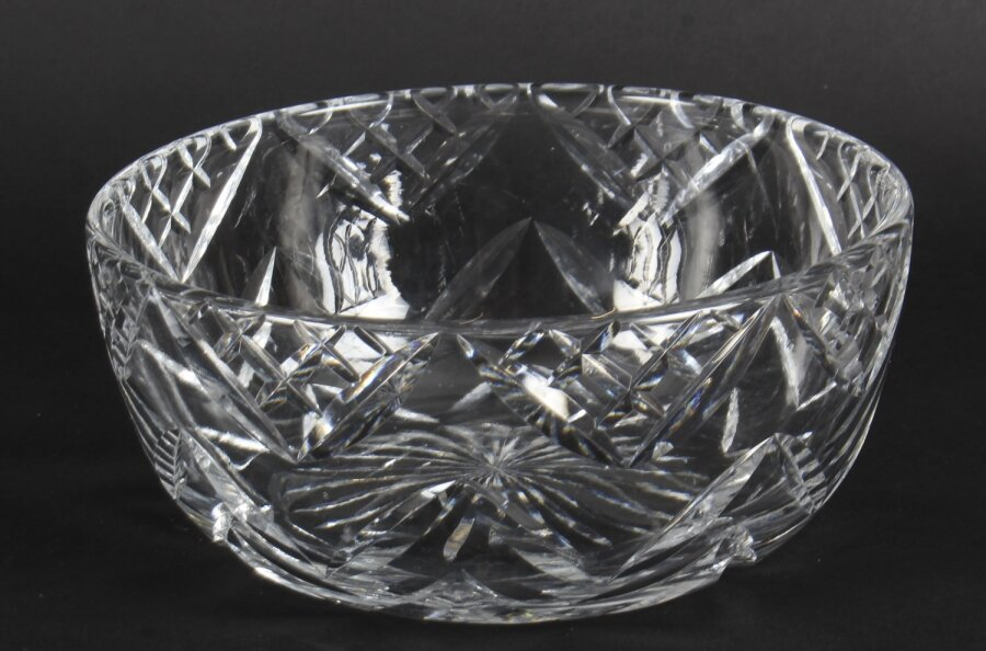 Vintage Large English Crystal Cut Glass Bowl Mid Century | Ref. no. A1113 | Regent Antiques