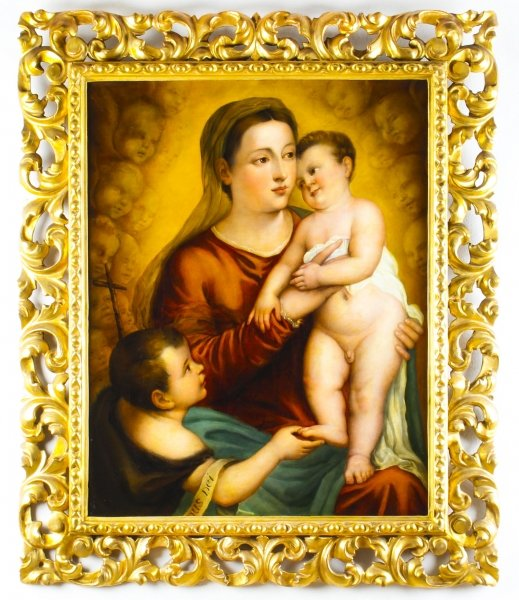 Antique Oil Painting \'The Virgin Child and Saint John\' by Egisto Manzuoli 19th C | Ref. no. A1119 | Regent Antiques