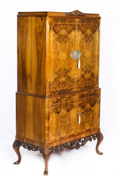 Vintage Burr Walnut Cocktail Drinks Dry Bar Cabinet Mid 20th Century | Ref. no. A1173 | Regent Antiques