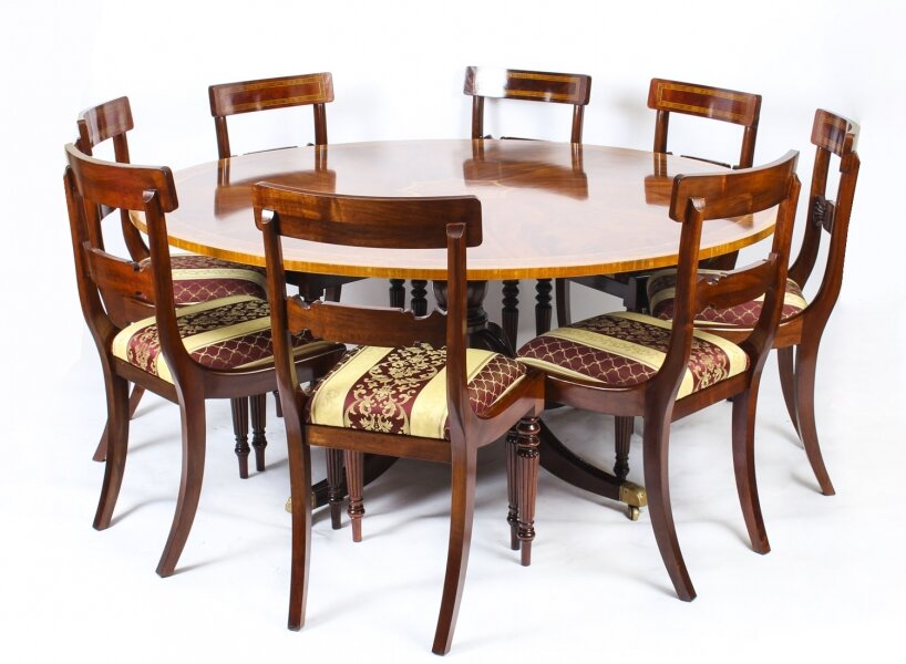 "Vintage 5ft 6"" diameter  Regency Revival Dining Table & 8 chairs 20th C 