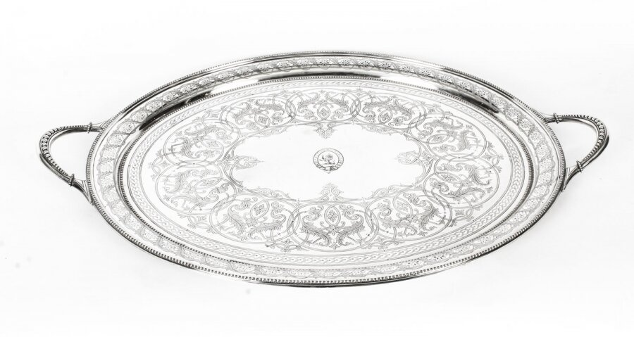 Antique Victorian Oval Silver Plated Twin Handled Tray 1870 19th Century | Ref. no. A1181 | Regent Antiques