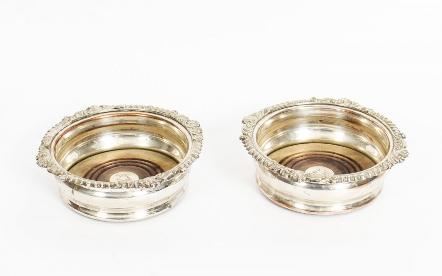 Antique Pair Old Sheffield Silver Plated Wine Coasters C1825 19th Century | Ref. no. A1185 | Regent Antiques