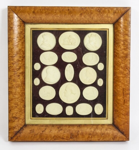 Antique Arrangement 21 Grand Tour Historical Intaglios Maple Frame 19th C | Ref. no. A1199 | Regent Antiques