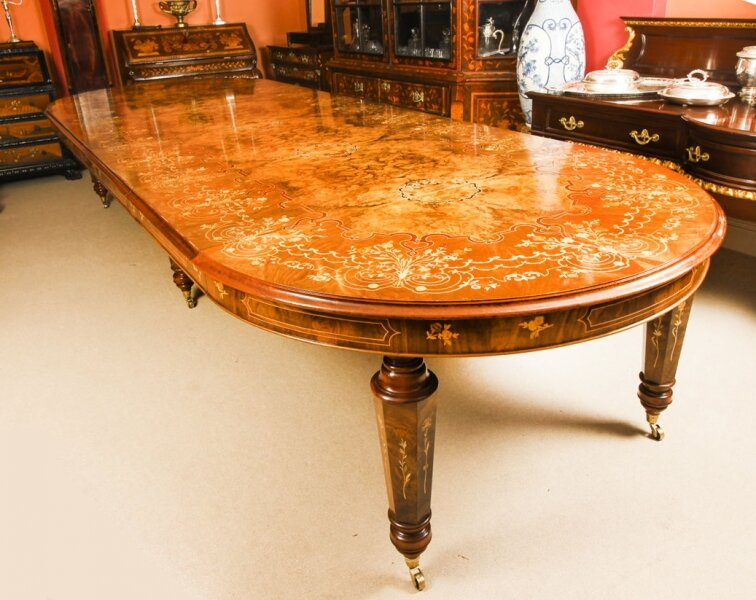 Stunning Bespoke Handmade 14ft Marquetry Burr Walnut Dining Table | Ref. no. A1203 | Regent Antiques