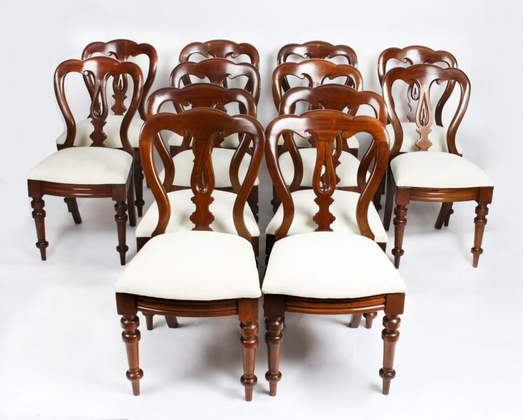 Antique Set 12 Victorian Mahogany Spoon Back Dining Chairs  19th C | Ref. no. A1209 | Regent Antiques