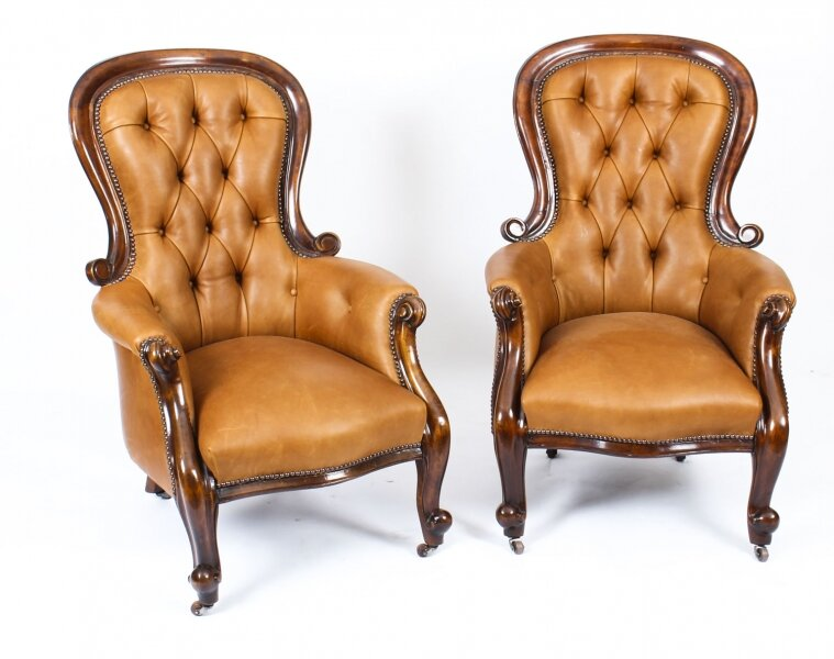 Antique Pair English Victorian  Mahogany Spoonback Leather Armchairs 19th C | Ref. no. A1219 | Regent Antiques
