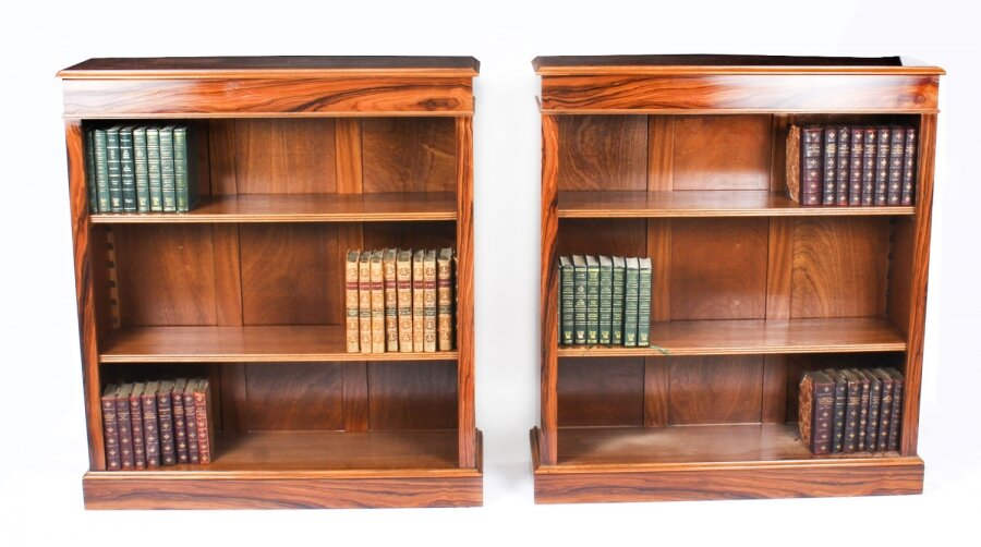 Bespoke Pair Mid Century Modernist Revival Low Rosewood Open Bookcases | Ref. no. A1227a | Regent Antiques