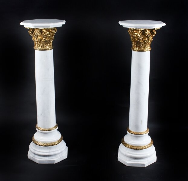 Vintage Pair 4ft White Marble and Ormolu Mounted Pedestals 20th Century | Ref. no. A1246 | Regent Antiques