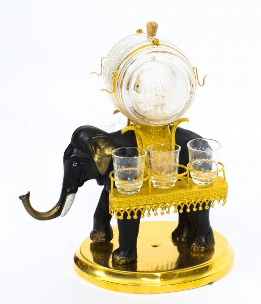 Antique Patinated Bronze  & Ormolu Elephant Liqueur Set Tantalus  19th C | Ref. no. A1251 | Regent Antiques