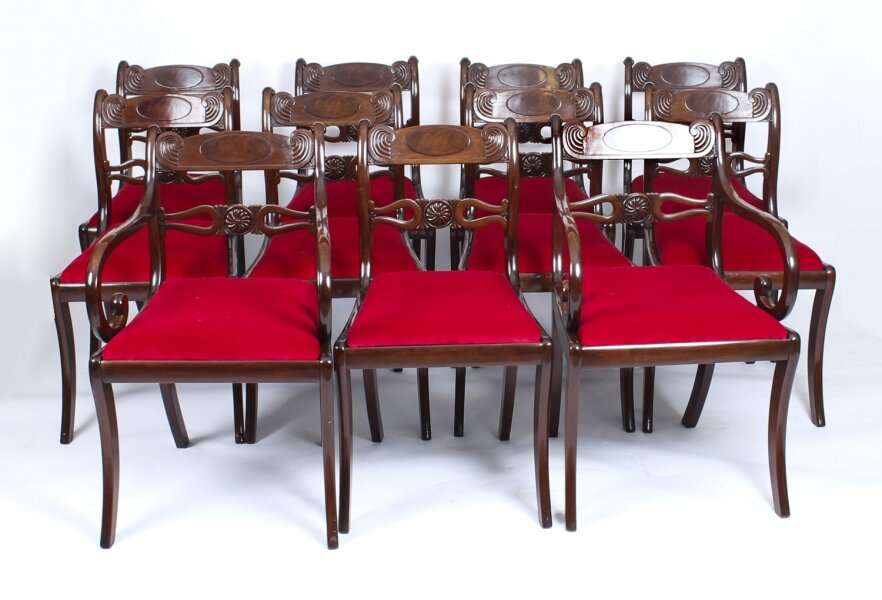 Antique Set 11 English Mahogany Regency Dining Chairs 19th Century | Ref. no. A1274 | Regent Antiques