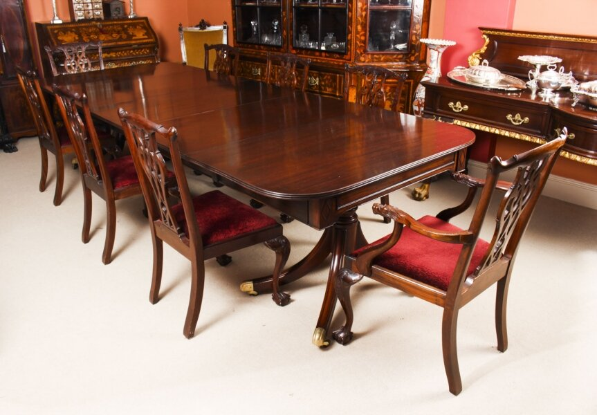 Antique Twin Pillar Regency  Dining Table  C1820 19th C & 8 Vintage chairs | Ref. no. A1297a | Regent Antiques