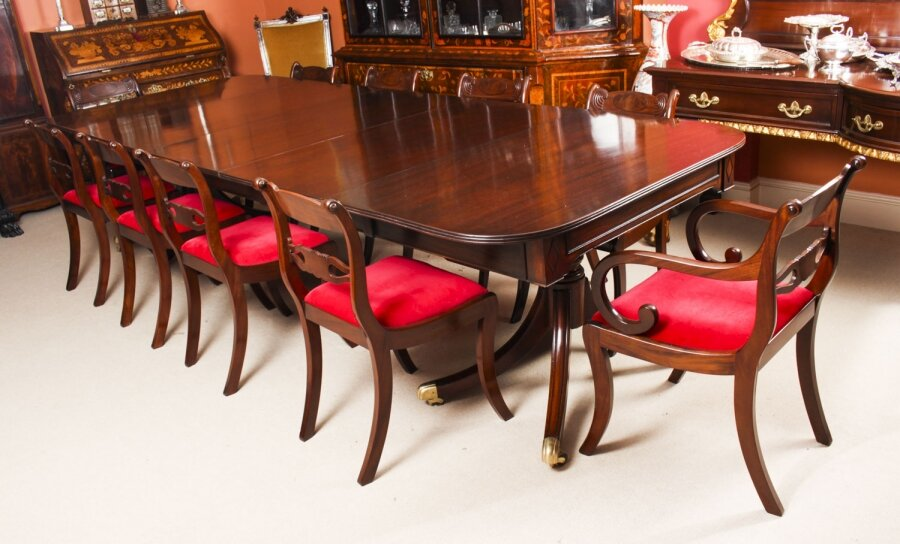 Antique Twin Pillar Regency  Dining Table & 10 Regency chairs C1820 19th C | Ref. no. A1297b | Regent Antiques