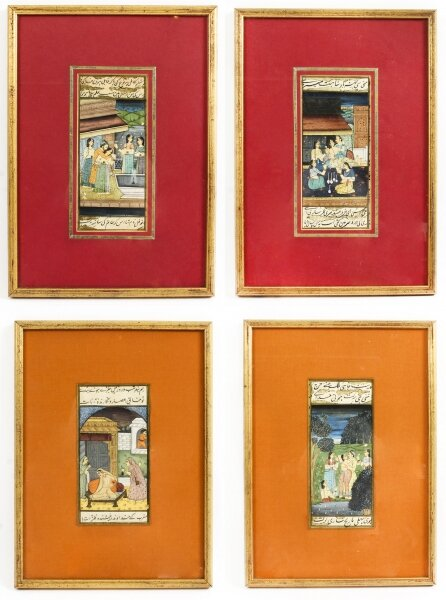 Set 4 Framed 19th Century Antique Indian Miniature Paintings Mughal Harem Scenes | Ref. no. A1323 | Regent Antiques