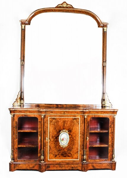 Antique Victorian Burr Walnut Sevres Plaque Mirror Back Credenza Cabinet 19th C | Ref. no. A1324 | Regent Antiques