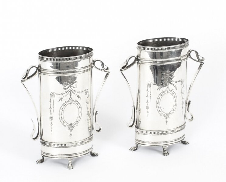 Antique Pair Victorian Neoclassical Silver Plate Vases Circa 1880 19th C | Ref. no. A1375 | Regent Antiques