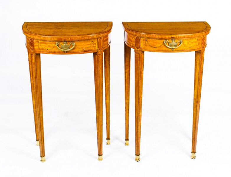Antique Pair Adam Revival  Demilune Satinwood Side Console Tables  19th C | Ref. no. A1409 | Regent Antiques
