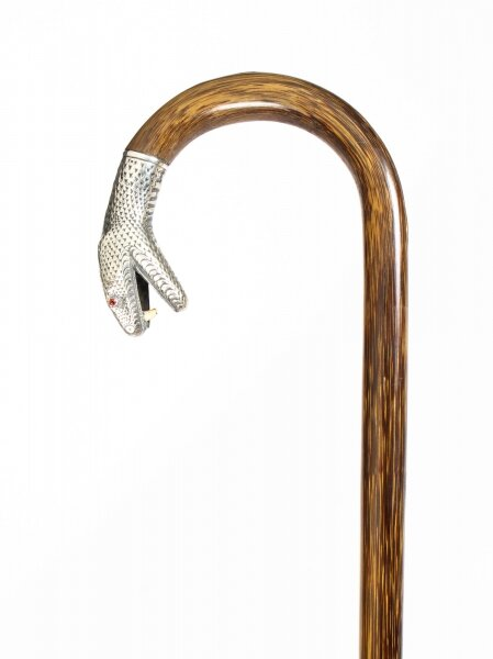 Antique Walking Stick Cane with Silver Snake\