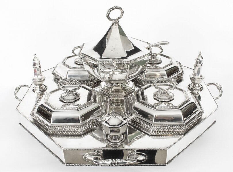 Antique English Art Deco Silver Plated Lazy Susan Serving Tray Circa 1920 | Ref. no. A1436 | Regent Antiques